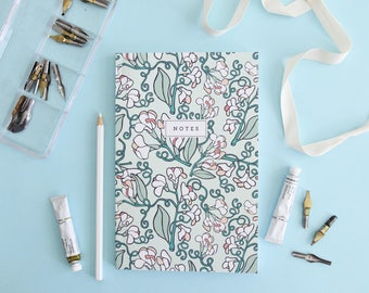 Notebook - Wild Sweet Pea // Floral Hand-Illustrated Journal // Botanical Notes Diary // Softcover Book // School Journal, Teacher Gift