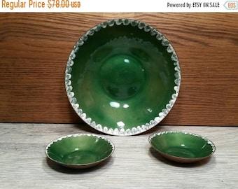 SALE - H. Tishler Copper & Enamel Dishes - Set of 3