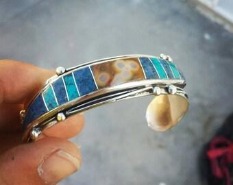 Sterling Silver Turquoise Lapis Lazuli Carnelian Inlay Bracelet