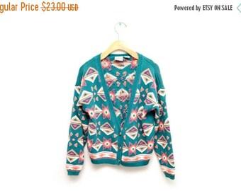 ON SALE 90s Southwest Geometric Patterned Cardigan Sweater Slouchy Size Medium