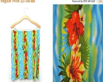ON SALE 90s Tropical Hawaiian Skirt Women's Large Hibiscus
