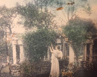 Hand Tinted Signed Engraved Print of Photo Angel in Garden with Flowers