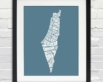 Israel Word Map - A typographic word map of cities of Israel