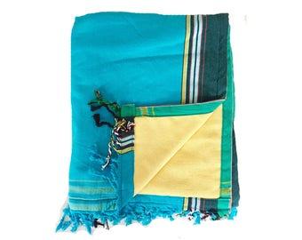 Kikoy Towel Turquoise with Yellow backing