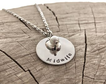 Midwife Necklace Gift Hand Stamped Disk Birthing Coach Nurse