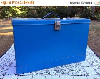 17% OFF SALE Blue Metal File Box/Legal Size File Box/Industrial Organizer/Bright Blue Box/Portable Filing Box/Metal Collection Keeper/Unusua