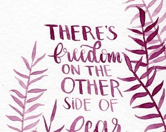 Freedom // 4x6 Watercolor Illustration quote calligraphy motivational typography lettering portrait custom drawing by Eliza George