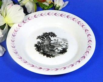 Early 19th Century Staffordshire Black Transfer Bowl Pink Luster Rim