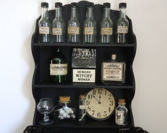 Halloween Apothecary display, Haunted mansion, Gothic decor, Witch kitchen, curiosities, one of a kind, unique Halloween prop