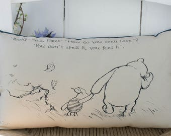 Winnie the Pooh Long pillow with Spell Love quote and classic illustration Gift gift for her, gift for best friends