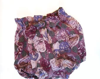 Mauve Floral Highwaisted Bow Front Bloomers Made to Order for Size 6 months - 3t
