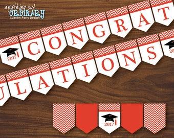 Red 2017 Graduation Banner, Printable Chevron Congratulations Banner, INSTANT DOWNLOAD digital file