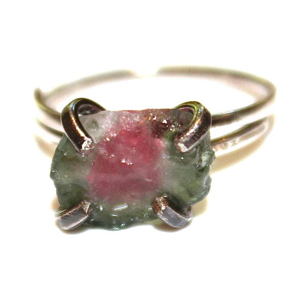 Rustic Watermelon Tourmaline Ring in Black Gold