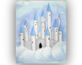 castle art print prince nursery art baby boy nursery blue castle wall - Blue Castle Decor