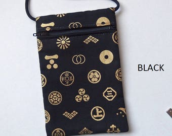 """Pouch Zip Bag Japanese BLACK Fabric gold symbols.  Great for walkers, markets, travel. Cell Phone coin Pouch.   Evening Purse. 7x4.5"""""""