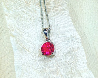 Ruby Necklace In Platinum July Birthstone Handmade Jewelry By NorthCoastCottage Jewelry Design & Vintage Treasures