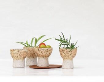 Vintage Pottery Sake Cups - 60s Pottery Sake Glasses - Mid Century Modern Pottery - 60s Potery Succulent Holders - Signed Sake
