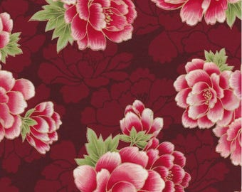Robert Kaufman Fabric, Imperial Collection 13, Pink & Red Floral Metallic, Red, 100% cotton