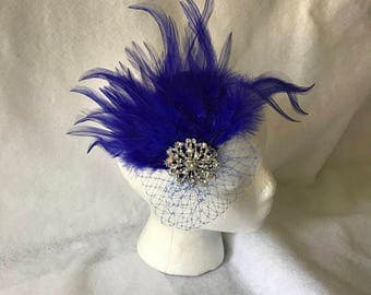 Royal Blue Feather Bridal Fascinator with blue blusher veil, Blue Feather Bridal hair accessory, Blue Wedding Fascinator, Blue Feather Clip