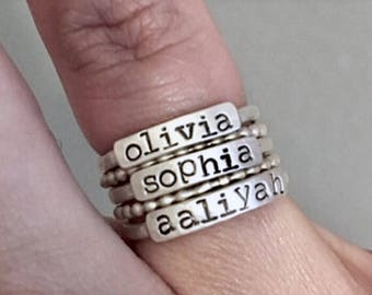 Sterling Silver Stackable Name Rings - Personalized Stacking Rings - Stacker Rings - Personalized Rings - Sterling Stacker Rings