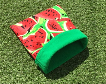 Cuddle sack for small pets. Watermelons pattern polycotton and fleece. 3 sizes. Option to add a water-resistant interlining.