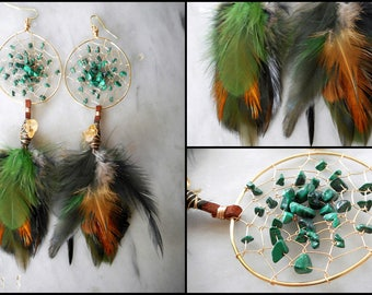 Malachite Bohemian Hippie Dream Catcher Earrings with Hand ArrangedFeathers by The Emerald Lotus