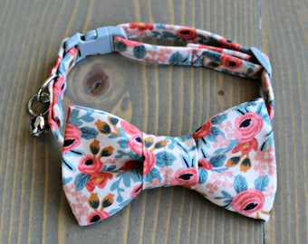 Peach and Grey Floral Lightweight Fabric Cat Collar with Matching Bow Tie, Breakaway Clasp, Safety Buckle, Adjustable, Optional Bell