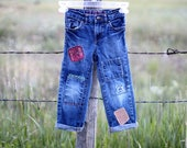 Child's Size 4T Vintage Upcycled Patched Boho Jeans Kids Denim Clothing