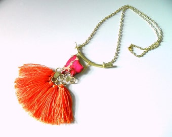 Statement necklace Boho Jewelry Silk Tassel Necklace Brass necklace Long Necklace for her Geometric Necklace Fringe necklace big necklace