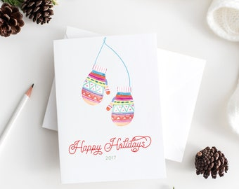 mitten christmas cards - watercolor christmas cards set - minimalist christmas cards - minimalist watercolor christmas cards