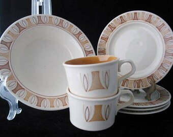 Taylor Smith and Taylor Etruscan Set of Bread Plate Saucers Soup Bowl and Coffee Cups Vintage 1960s Set of 7