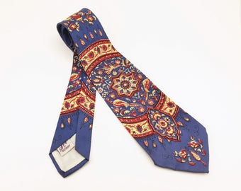 1940s Paisley Festival Tie Mens Vintage Blue, Red & Yellow Big Band Era Swing Necktie with Printed Paisley Designs Sir by BOTANY