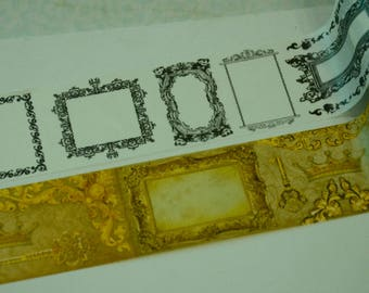 1 Roll of Thick Washi Masking Tape (Pick 1):  Elegant Black Frame or Golden Frame