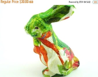 ON SALE French Country Style Bunny Figurine. READY to Ship. Springtime. Decoupage Rabbit.. Gardner Gift.  Nursery Decor. English Style.