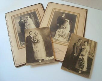 Collection of old vintage wedding photos in sepia color