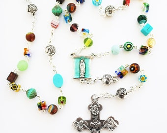 Contemporary Handmade Rosary--Repurposed--Hippie Style--Catholic--Prayer Beads--Inspirational--One of a Kind--Hope--Pray--Boho--Upcycled