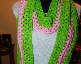 Handmade Crochet Scarf, Green and Pink, Sorority Colors