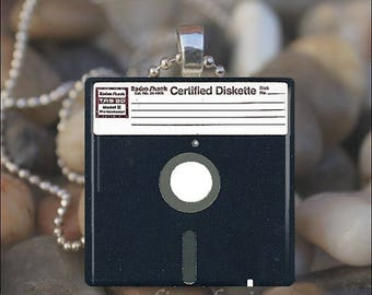 10% OFF JUNE SALE : Floppy Disk Computer Chip Drive Glass Tile Pendant Necklace Keyring
