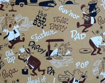 Vintage MASCULINE Birthday or FATHER'S Day Gift Wrap - Wrapping Paper - Mid-Century Illustration - To DAD - 1950s