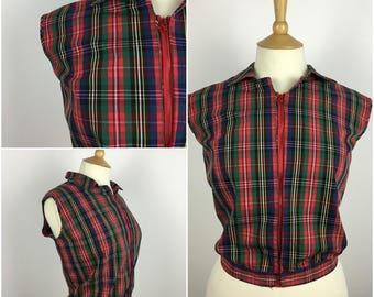 Vintage 1950s Top - 50s Red Tartan Cotton Zip Up Shirt - 50s Pinup Rockabilly - Large xl - UK 16-18 / US 12-14 / EU 44-46