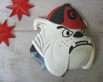 Vintage Georgia Bulldog Mascot Chalk Ware Wall Hanging Bulldogs UGA Dawgs University of Georgia Athens