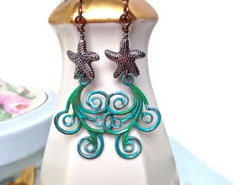Long starfish earrings with ocean waves, mixed metal starfish earrings, sea life jewelry, hand painted ocean wave earrings, beach jewelry