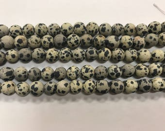 8mm Dalmatian Jasper beads, round, MATTE NON-faceted, 1 strand, 45 beads