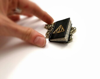 Wearable Tiny Leather Book, Deathly Hollows, Harry Potter - Miniature Book Pendant