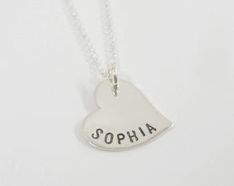 Name stamped Heart Necklace - Name Necklaces - Hand Stamped Personalized Jewelry - Custom Made