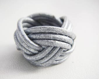 leather braided silver ring
