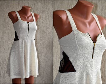 Vintage Romantic LACE White Black Pleated Mini Dress size S M 36 38 Etno Tank Strap Summer Day Bustier Dress Tunic