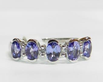 14K Tanzanite Ring Tanzanite Engagement Ring 14K White Gold Diamond Tanzanite Anniversary Ring