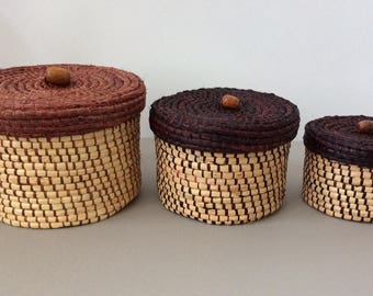 SALE / trio of  woven coiled lidded nesting baskets