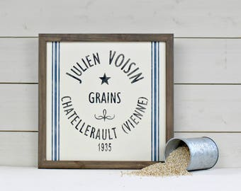 French Grain Sack Rustic Wood Sign - French Rustic Farmhouse Sign - French Country Decor - Grain Sack - Rustic Wall Decor - Farmhouse Decor